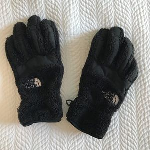 North Face black furry gloves, women's small